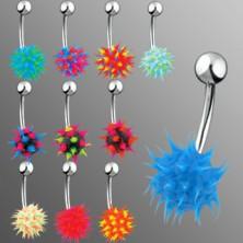 Piercing za pupak sa silikonskim ježom u boji
