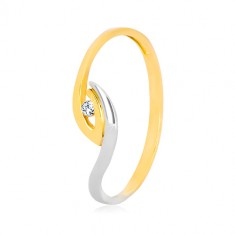 Prsten od zlata 375 - asimetrični rubovi, blistavi cirkon