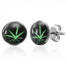 Dugme čelične naušnice, zeleni list marihuane na crnoj podlozi