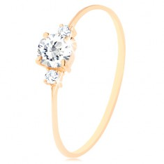 Prsten od 585 zlata - prozirni, okrugli cirkon, mali cirkoni na obje strane