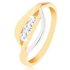 Prsten od zlata 375 - valovite linije u dvije nijanse,  tri okrugla, prozirna cirkona