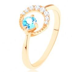 Prsten od zlata 585 - polumjesec ukrašen malim prozirinim cirkonima, plavi topaz