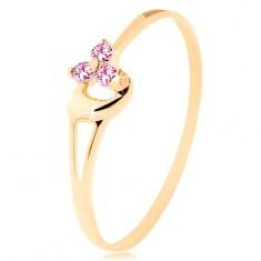 Prsten od 14K žutog zlata - tri ružičasta cirkona, nepravilno ispupčeno srce