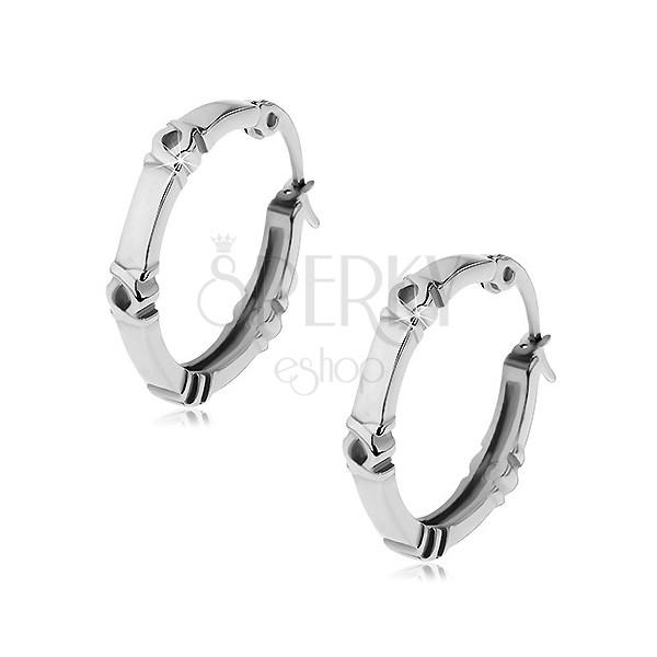 Naušnice - krugovi sa motivom Kreola, srebrna boja