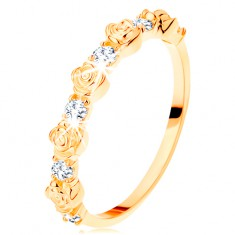 Prsten od 14K žutog zlata - male ružice koje se izmjenjuju s okruglim prozirnim cirkonima