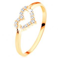 Prsten od 14K žutog zlata - svjetlucava silueta pravilnog srca
