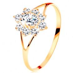 Prsten od 14K žutog zlata - prozirni cirkonski cvijet, razdvojeni krakovi