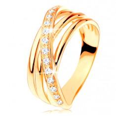 Prsten od 14K žutog zlata - tri glatke linije, kosa cirkonska linija