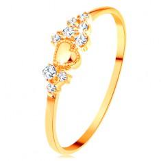 Prsten od 14K žutog zlata - sitni prozirni cirkoni i sjajno izbočeno srce