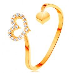 Prsten od zlata 585 - valoviti krakovi koji završavaju siluetom srca i punim srcem