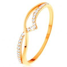 Prsten od 14K žutog zlata - glatki i svjetlucavi val od prozirnih cirkona
