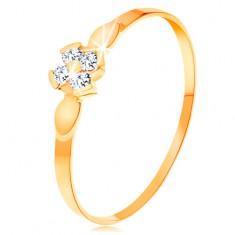 Prsten od 14K žutog zlata - cvijet od četiri prozirna cirkona, sjajni listovi