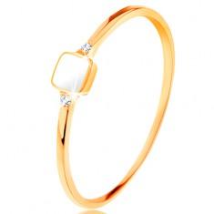 Prsten od žutog 14K zlata - bijeli glazirani kvadrat, mali prozirni cirkoni