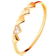 Prsten od 14K žutog zlata - mala svjetlucava srca, prozirni cirkoni