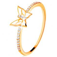 Prsten od 14K žutog zlata - svjetlucave linije, bijeli glazirani leptir