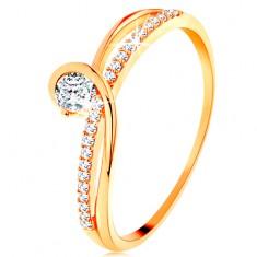 Prsten od zlata 585 s razdvojenim isprepletenim krakovima, prozirni cirkon