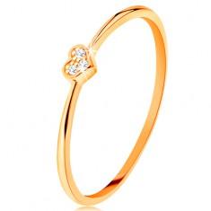 Prsten od 14K žutog zlata - srce ukrašeno okruglim prozirnim cirkonima