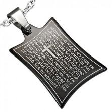 Privjesak od nehrđajućeg čelika - molitva i križ