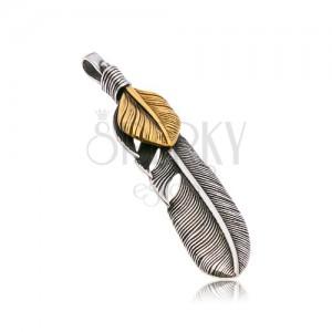 Čelični privjesak, povezana patinirana pera u srebrnoj i zlatnoj boji