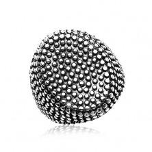 Čelični prsten, veliki oval zasipan malim ispupčenim točkama, crna patina