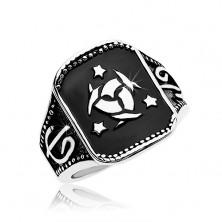 Čelični prsten, crni pravokutnik sa keltskim čvorom i tri zvijezde