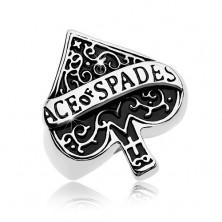 Masivni prsten od 316L čelika, patinirani kartaški simbol pik, natpis