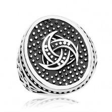 Čelični prsten, točkasti oval sa keltskim motivom, ornamenti na krakovima
