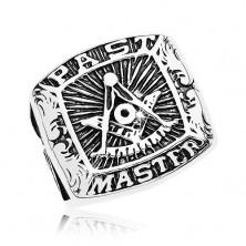 Prsten od nehrđajućeg čelika, simboli slobodnih zidara i natpis, crna patina