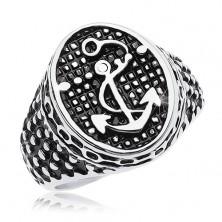 Prsten od 316L čelika, patinirani oval sa sidrom i malim točkama