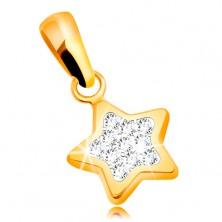 Privjesak od žutog 585 zlata - svjetlucava petokraka zvijezda, prozirni cirkoni