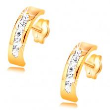 Naušnice od žutog 14K zlata - luk ukrašen sa linijom prozirnih cirkona