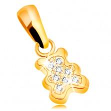 Privjesak od žutog 585 zlata - mali medvjed ukrašen prozirnim cirkonima