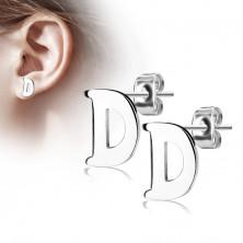 Čelične naušnice srebrne boje – veliko slovo D, visoki sjaj