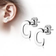 Naušnice od nehrđajućeg čelika - veliko slovo C, srebrna boja