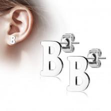 Čelične naušnice srebrne boje – veliko slovo B, visoki sjaj