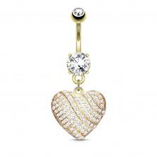 Čelični piercing za pupak, svjetlucavo srce ukrašeno prozirnim cirkonima