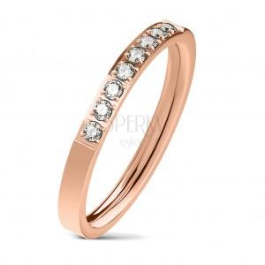 Čelični prsten bakrene boje, linija prozirnih cirkona, sjajna površina, 2,5 mm