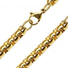 Lančić od 316L čelika zlatne boje, sjajne ovalne karike