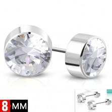 Naušnice od 316L čelika, srebrna boja, okrugli prozirni cirkon, 8 mm