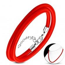 Crvena ogrlica omotana uokolo sa sjajnim navojem, prilagodljiva duljina, karabin kopča
