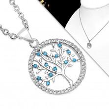 Ogrlica od 316L čelika, prozirni krug i drvo života sa plavim lopticama