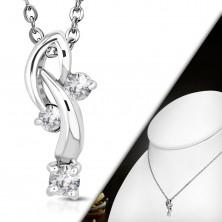 Ogrlica sa privjeskom - tri prozirna cirkona na savijenim lukovima