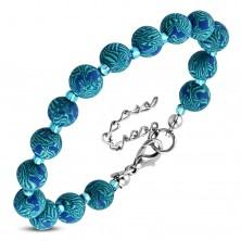 Plava narukvica, veće FIMO loptice sa uzorkom i male prozirne perle