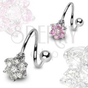 Uvijeni piercing s cvijećem od nehrđajućeg čelika