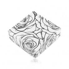 Kutijica za naušnice ili dva prstena, uzorak crne ruže na bijeloj podlozi