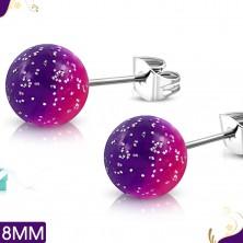 Čelične naušnice, ružičasto ljubičaste akrilne loptice sa šljokicama, dugmad