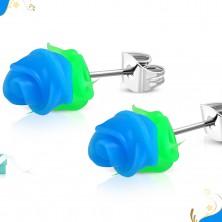 Čelične dugme naušnice, plava silikonska ruža sa zelenim lišćem