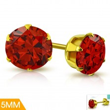 Naušnice od nehrđajućeg čelika zlatne boje, svijetlo crveni cirkon u postolju, 5 mm