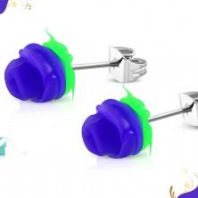 Čelične dugme naušnice, tamno ljubičasta ruža sa zelenim lišćem