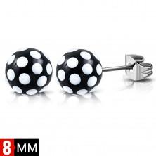 316L čelične naušnice, crno bijele loptice sa točkicama